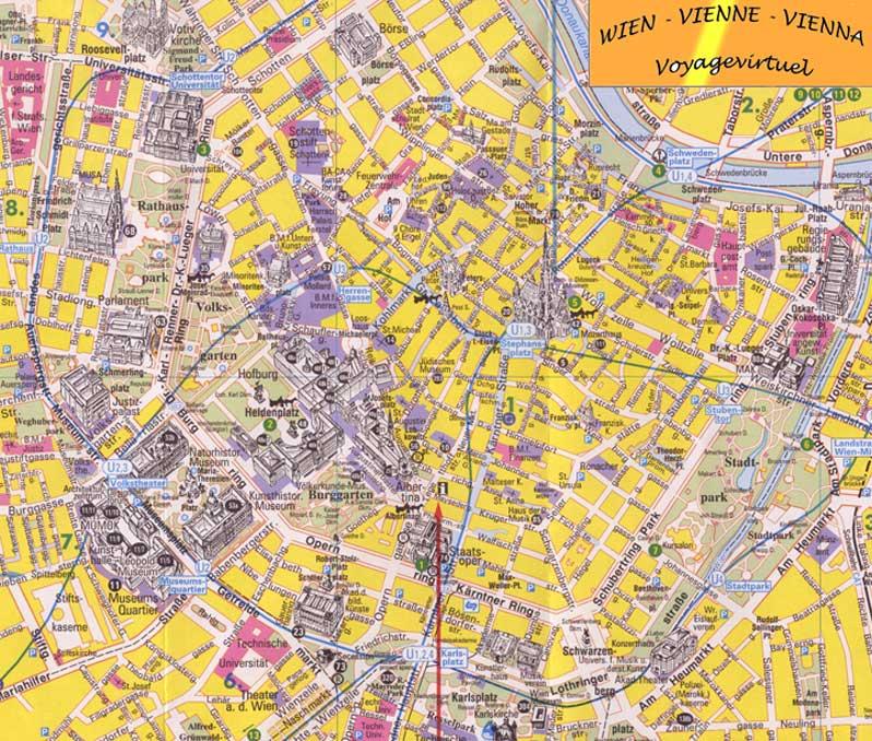 mapa da cidade de viena na austria Mapa e plano de Viena (centro histórico)   Áustria mapa da cidade de viena na austria