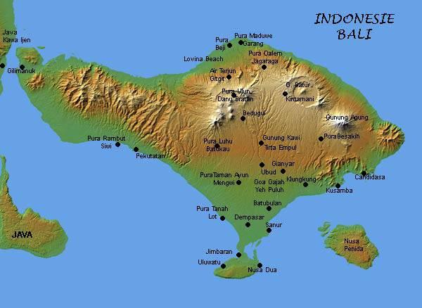 Mapa de Bali na Indonésia